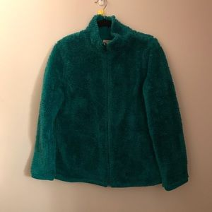 Jackets & Blazers - Teal Fuzzy Zip Up Coat